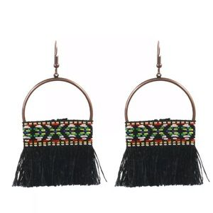 Jewelry - Bohemian Black Tassel Earrings